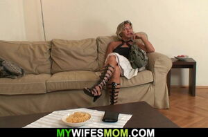 Super-steamy blond mother-in-law rails..