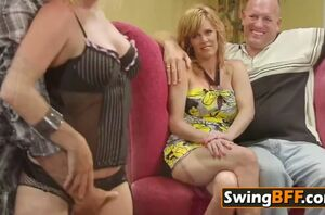 A gang of swingers are frolicking orgy..