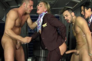 Booty-fucked CFNM stewardess joins..