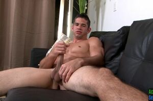 Hunky soldier jerking his large salami..