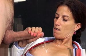 Wonderful mature hand job with jizz shot