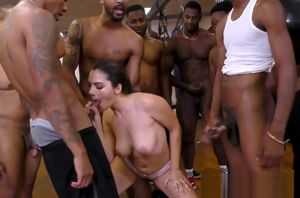 Big-boobed stunner eats bbcs in blowbang