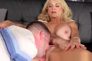 Huge-titted Blond Gilf Banged by a Guy