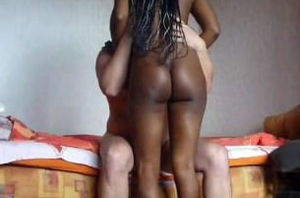Ebony nymph caught on vid boning a..