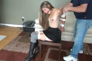 ballgagged sasha peels off and submits..