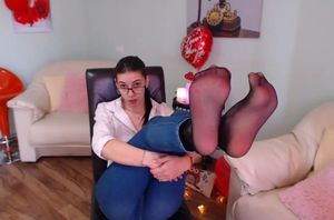 Bella antonia taunts with stocking..