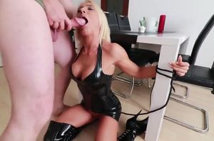 Jizz and urinate for a trussed mega-slut