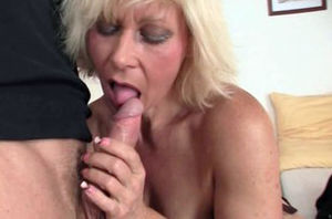 Handsome platinum-blonde grannie gets..