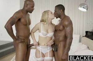 Fabulous platinum-blonde groans with 2..