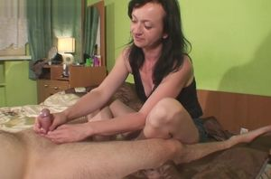 Maya masturbating him with 2 pop-shots